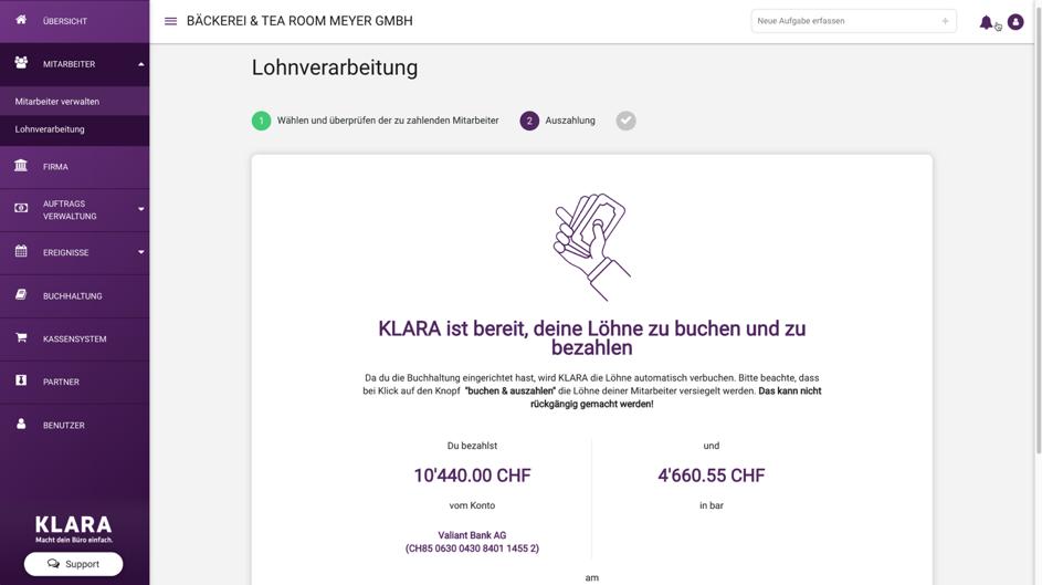 KLARA Update August 2018 Lohn