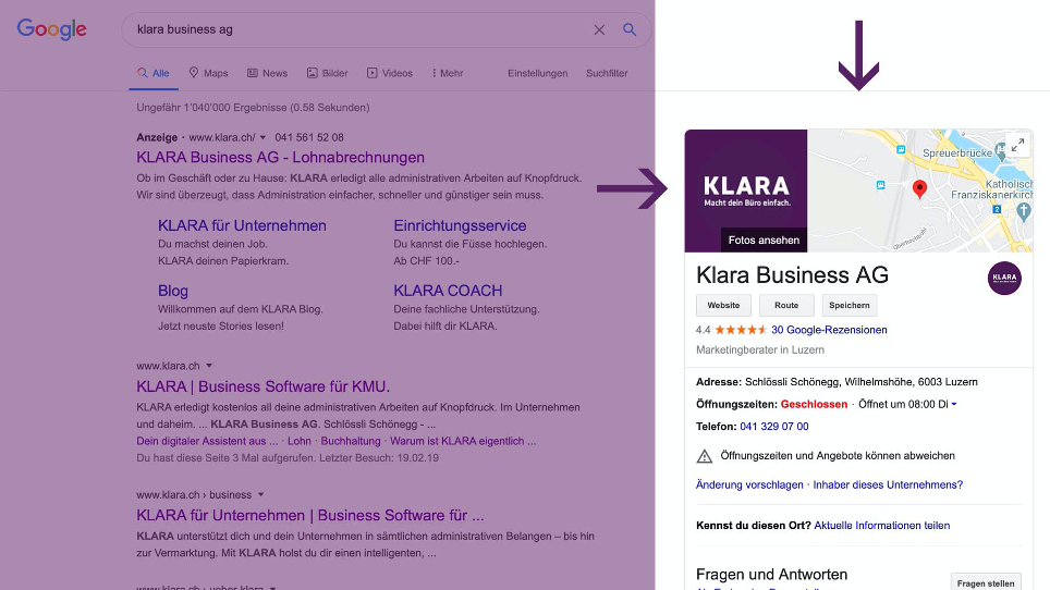 Google My Business Ansicht