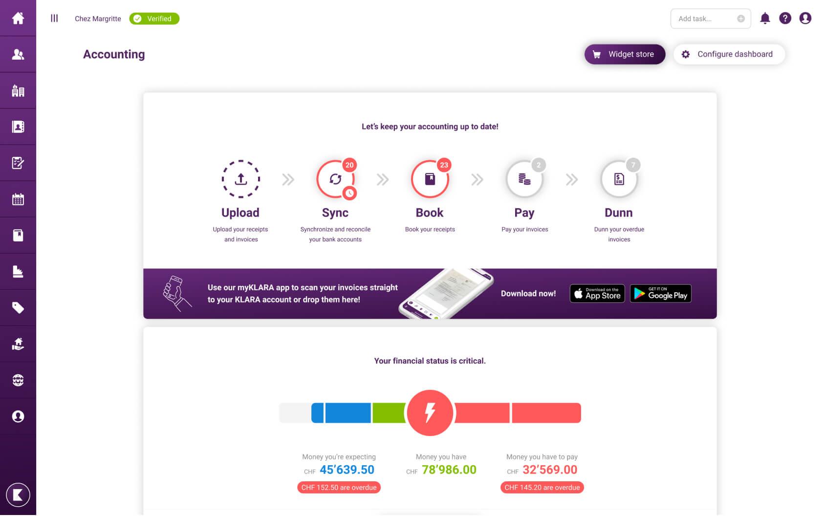 KLARA online accounting software for free: user interface on desktop