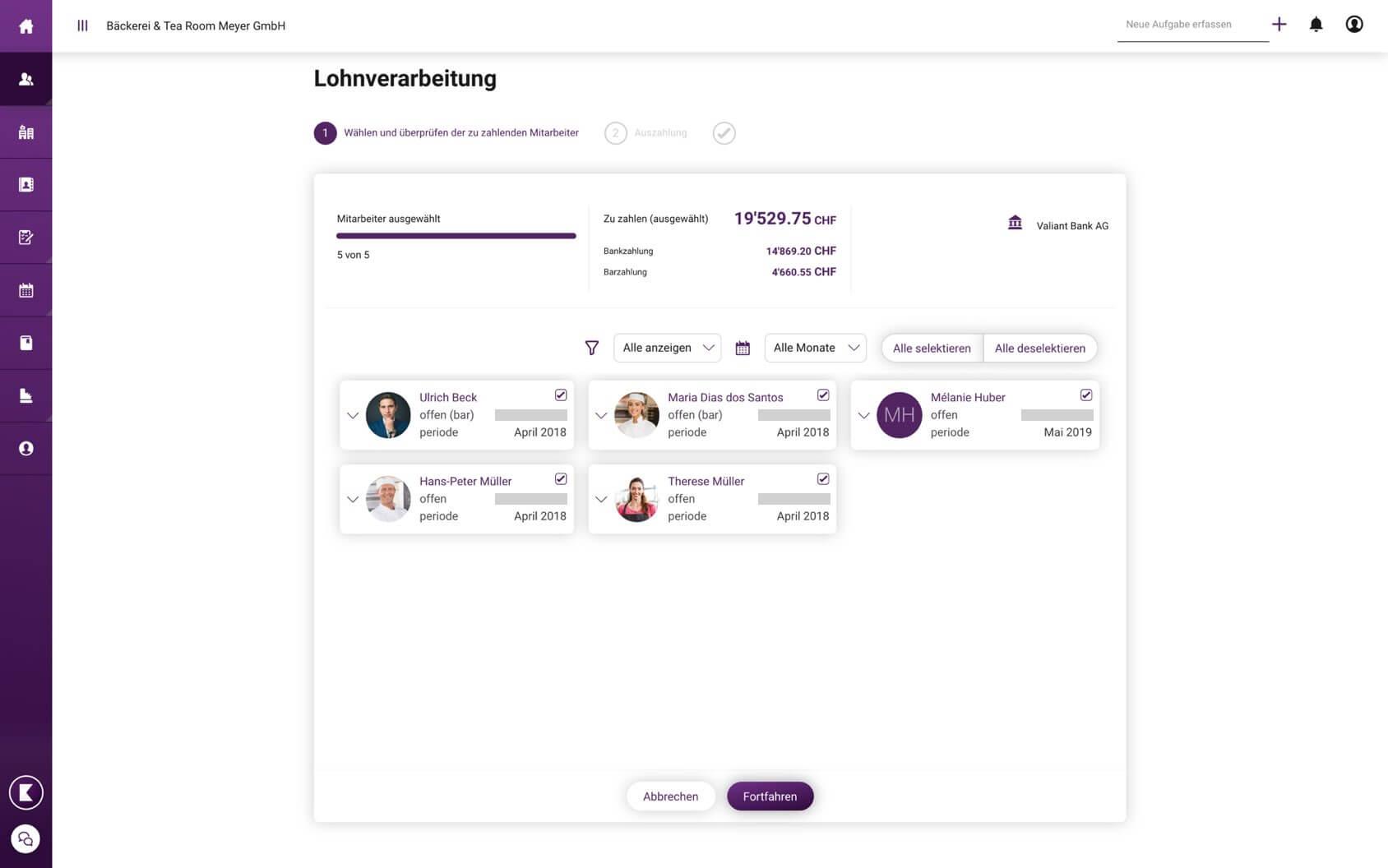 Programma paghe online KLARA: panoramica dell'elaborazione del libro paga
