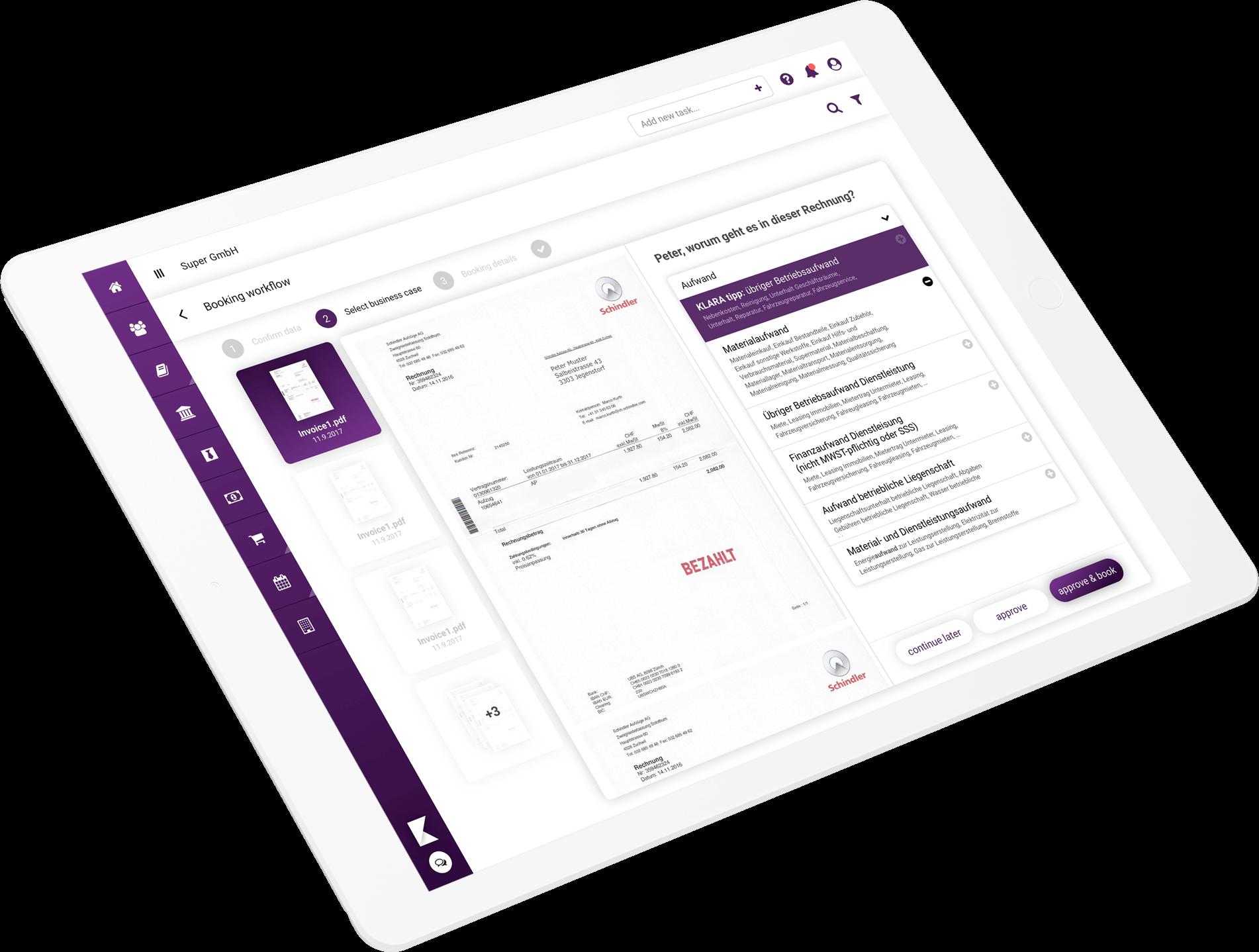 klara-website-large-device-ipad-buchhaltung-rechnung-bezahlen